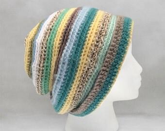 Yellow and Blue Crochet Beanie