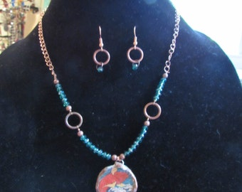 "18"" copper and beaed necklace and earrings"