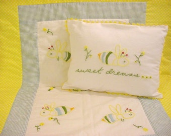 Dandelion Bees 4 Piece Crib Bedding Set