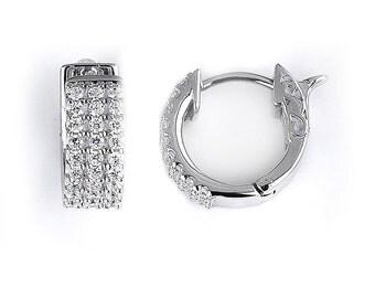 3 Row Cubic Zirconia Hoop Earrings - Sterling Silver Rhodium Plated CZ