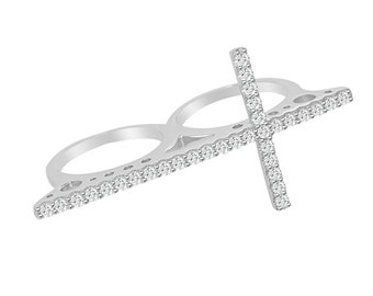 CZ Cross Multi Finger Ring 2 Double Finger Cubic Zirconia Sterling Silver Rhodium  - Religious Faith