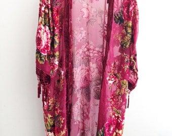 Rose Kimono Fringe Jacket