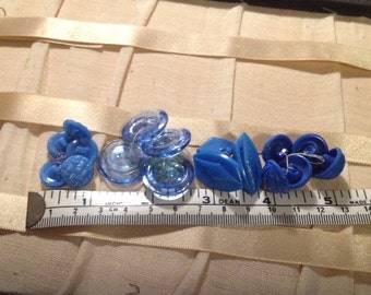 Vintage blue glass button sets