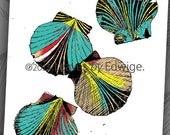 Colored Sea Shell print- 8x10 inched digital printed art - originally pen and ink- wall decor -ocean art- Beach house decor