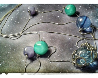 SALE! 90's Long Galaxy Necklace, vintage,cheap, low price