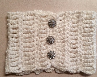 Cowl with Rhinestone Button Details