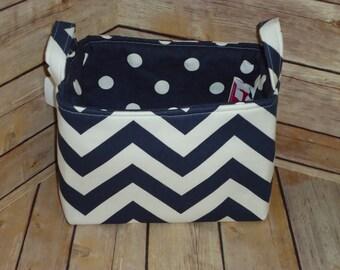 Navy Blue & White Chevron Fabric Storage Basket w/ Navy Polka Dot Lining