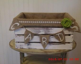 Rustic wedding card crate w/ burlap liner