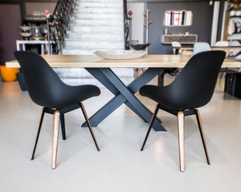 Table dining Collection X: Metal and wood.  Iron, Steel and wood.