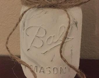 White Painted Ball Mason Jar with Jute Burlap Bow, Rustic Flower Centerpiece Vase