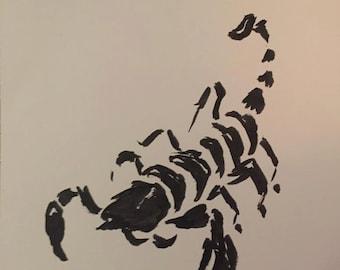 Original Sumi-e Scorpion Ink Painting