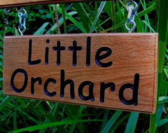 Wooden Signs/Double Sided  Oak Hanging Signs, Engraved House Name Signs/Hanging Kit, Business Sign, Garden Sign