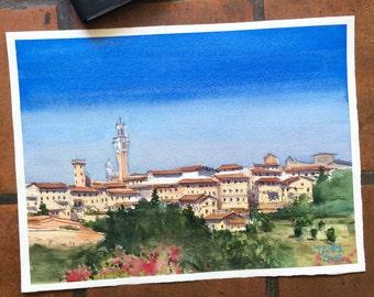 "Original watercolor painting ""Siena"""