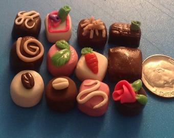 12 Miniature, tiny non-edible chocolates. Clay trinkets