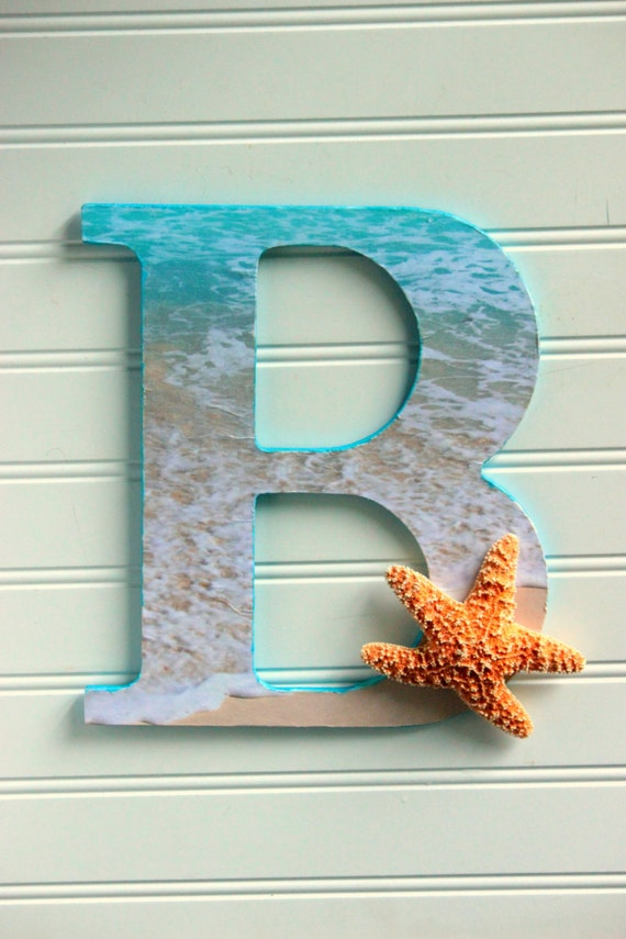 Ocean Beach Themed Wooden Letter with StarFish