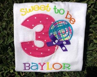 Girls birthday shirt, third birthday shirt, sweet shop birthday, lollipop birthday, candy birthday shirt, boys birthday shirt