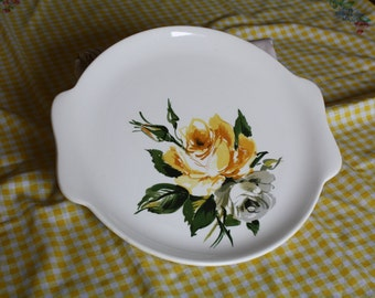 Cute and Kitschy Yellow and Gray Rose serving plate 1960's
