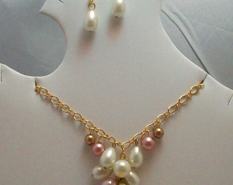 Cascading Pearls Earrings and Necklace Set