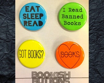 1 - Reading Pins - Small 1.25 inch Pin Back Buttons or Badges