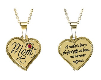 Mom Heart Pendant With Personalized Birthstone