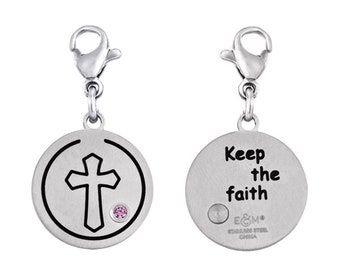 Cross Disc Charm With Personalized Birthstone