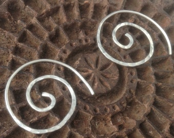 Sterling silver 925 hammered spiral earrings