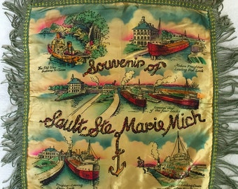 Souvenir Pillow Cover from Sault Ste. Marie, Mich