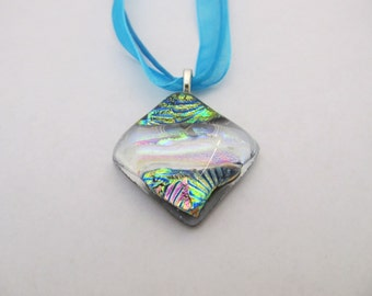 Blue Dichroic Fused Glass Pendant Necklace