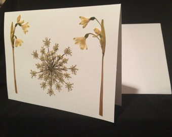 Pressed Flower Card - Queen Anne's  Lace and Snowflake Flower - Blank Card - Greeting Card