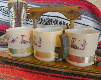 Vintage Siesta Ware 6-Coffee Mug Western Set with Wooden Tray Mid-Century