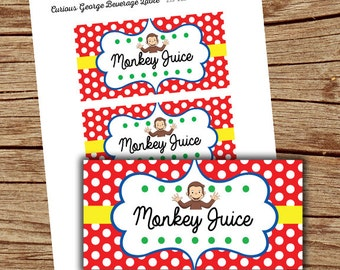 Curious George Party/ Monkey Juice Tags/ Curious George Printables/ Instant Download/ Curious George Party/ Curious George Birthday