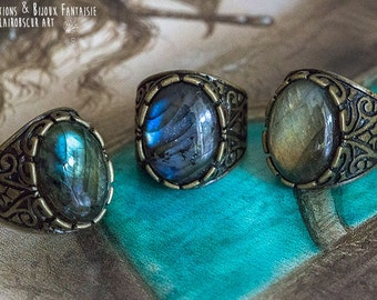 Ring Calypso Labradorite - Art pattern