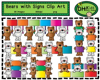 Bears Holding Signs Clip Art