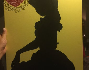 Silhouette painting of Belle