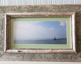"Custom Driftwood Framed Fine Art Photograph  ""The Lighthouse""  New Jersey"