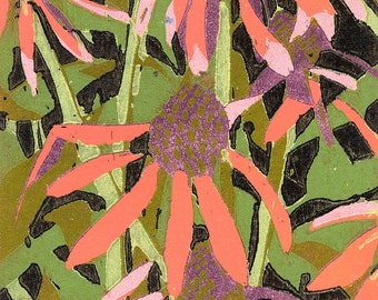 Garden #2,  woodcut relief print, limited edition original print