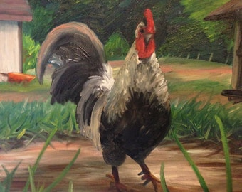 Rooster; Farm Painting, Chicken, Chicken Coop