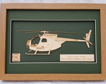 OH6A Loach Cayuse Helicopter Vietnam - Laser engraved-cut original 2D-3D picture