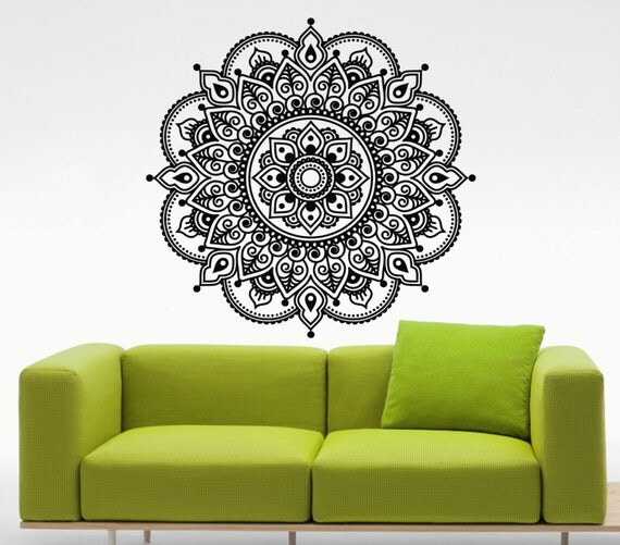 Mandala wall decal lotus flower namaste indian vinyl sticker for Mural mandala