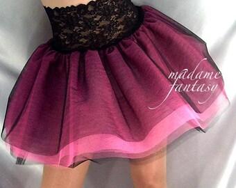 Lace top tutu Net skirt Black Neon Pink
