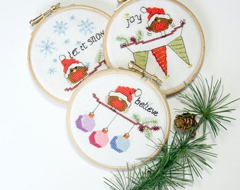 Cross stitch Christmas Cards and Ornaments - 3 modern cute easy robin designs, fun xmas craft cross stitch patterns PDF - Instant download