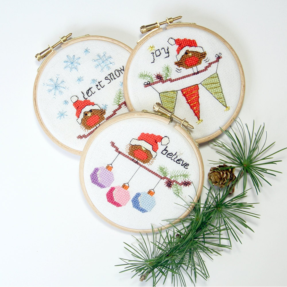 Cross stitch christmas cards and ornaments modern cute