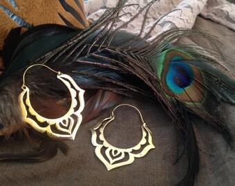 Brass Flower Hoops, Lotus Power, Gipsy Tribal earrings