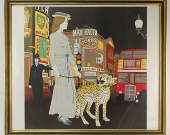 Philippe Noyer Limited Ed Lithograph Lady w Leopard at Piccadilly Circus
