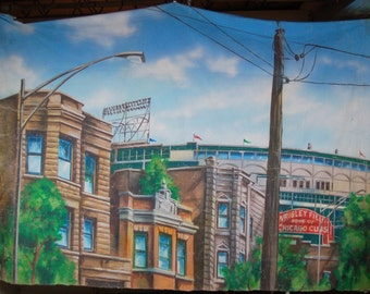 Massive Wrigley Field Wrigleyville Chicago Painting on Canvas Backdrop