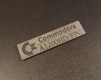 Commodore Amiga 1200 HD/PPC Logo / Sticker / Badge brushed alu 49 x 13 mm [262c]