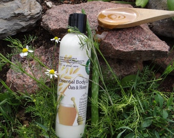 Essential Body Lotion~ Oats & Honey all natural body lotion, unscented for sensitive skin 8 oz
