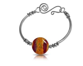 Boho Bangle Bracelet, Layering Bracelet, Beaded Bracelet Bangle, Bracelets for Women, Friendship Bracelets, Gift for Her, Sterling Silver
