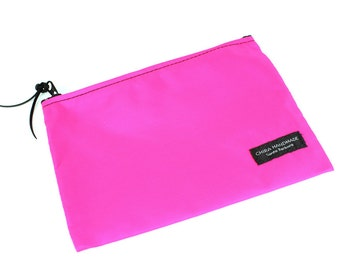 8x6 inch Hot Pink basic nylon zipper pouch -- use for travel, snacks, cosmetics, a tool bag, photo-video gear, and more!