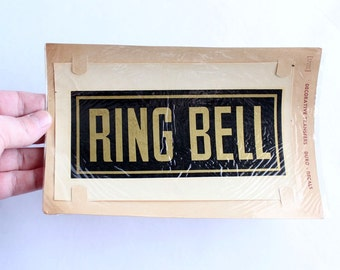 vintage decal . store signage . RING BELL sign by Duro Decals . 1930s - 1950s vintage sign . black and gold transfer decal